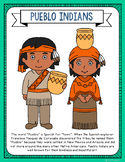 Pueblo Indians Coloring Page Craft and Poster, Native Amer