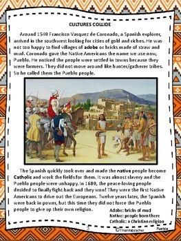 Pueblo Indians 4th 5th Reading Level  Engaging Text Fun Activiites