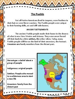 Pueblo Indians  3rd Grade Reading Level Engaging Text for Kids & Fun Activities