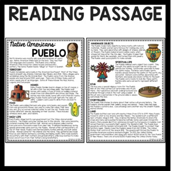 Pueblo Native Americans Reading Comprehension Worksheet