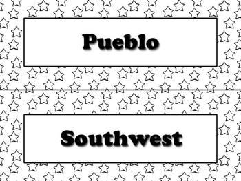 Pueblo Vocabulary Strips - Native Americans - Superstars Theme