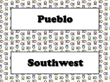 Pueblo Vocabulary Strips - Native Americans - Owls Theme