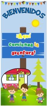 """Puerta Bienvenidos: Aquí comienza la aventura camper kids (día) 32""""x72"""""""