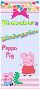 "Puerta Peppa Bienvenidos a Kindergarten tamaño 32""x72"""