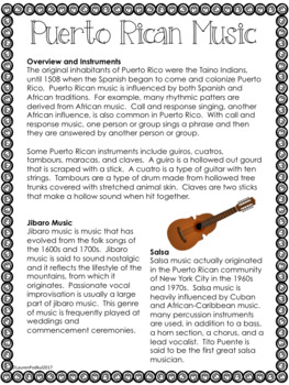 Music from Puerto Rico - Reading Passage and Questions - Great for Subs!