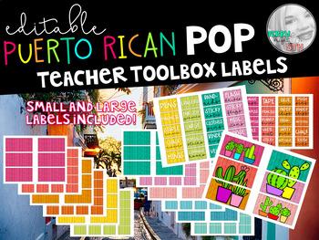 Puerto Rican Pop Editable Teacher Toolbox Labels