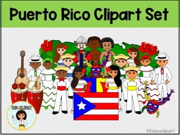 Puerto Rico Clipart set - Bundle (Color and outlines)