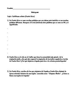 Puerto Rico Webquest/  Hispanic Cultural enrichment activity