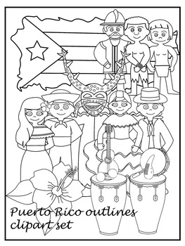 Puerto Rico clipart set - Outlines