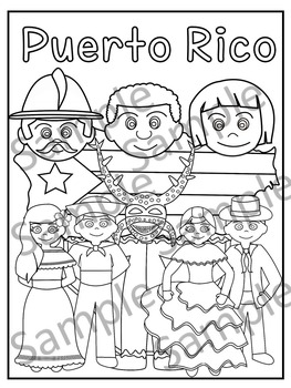 Puerto rico by educaclipart teachers pay teachers for National hispanic heritage month coloring pages