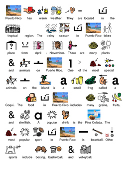 Puerto Rico - picture supported text article lesson with questions visuals