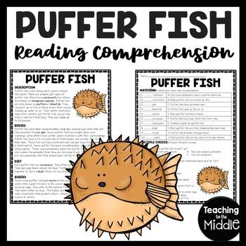 Puffer Fish Reading Comprehension; Ocean Creatures; Summer; Blowfish; Puffers