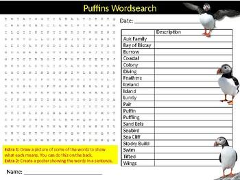 Puffins Wordsearch Sheet Starter Activity Keywords Animals Nature Birds