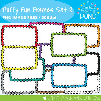 Puffy Fun Frames Set 2 by Graphics From the Pond | TpT