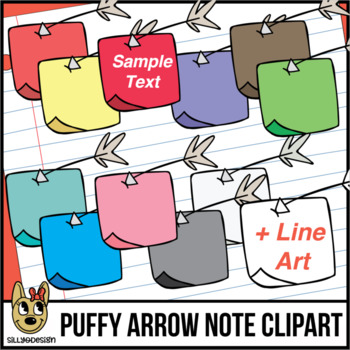 Puffy-Tailed Arrow Notes Clip Art