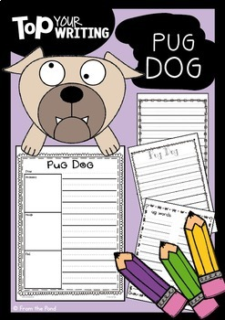 Pug Dog Writing with Topper
