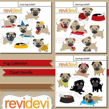 Pug collection clip art bundle (3 packs)