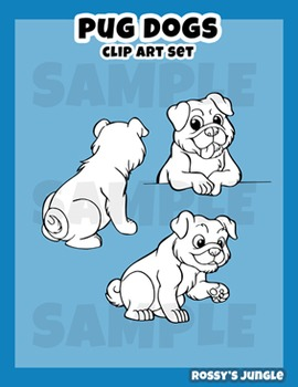 Pug dogs clip art set