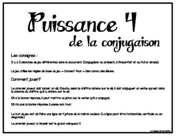 Puissance 4 De La Conjugaison By La Classe De Catherine Catherine S Class