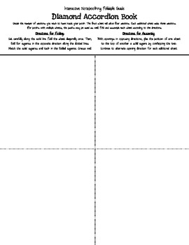 Diamond Accordian Foldable/Book Template for Interactive Notebooks