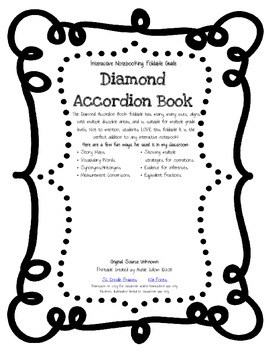 Diamond Accordian Foldable/Book Template for Interactive N