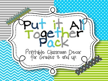 Pull it All Together! Classroom Decor - Grey, Teal and Green