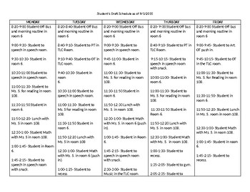 Speech Therapy-Special Education-Pull out schedule for impaired student