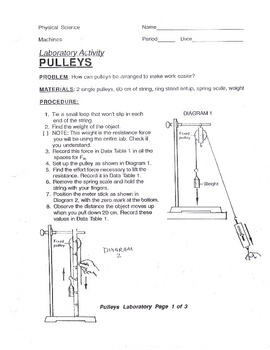 pulley lab with answer key simple machines force by lesson universe. Black Bedroom Furniture Sets. Home Design Ideas