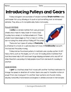 Pulleys And Gears Worksheets For Grade 4: grade 4 pulleys and gears activity packet by teachinginawonderland,