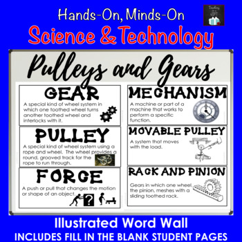 ONTARIO SCIENCE: GRADE 4 PULLEYS AND GEARS ILLUSTRATED WORD WALL