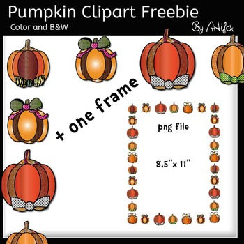 Pumpkin clip art- Color and B&W- 300 FOLLOWERS FREEBIE!