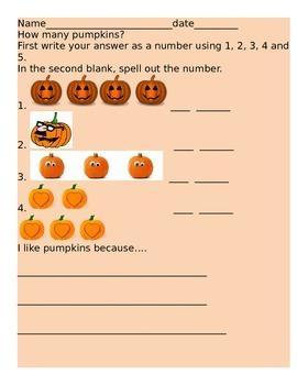 Pumkpkin Patch counting worksheet
