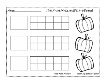 Pumpkin 10 Frame Recording Sheet