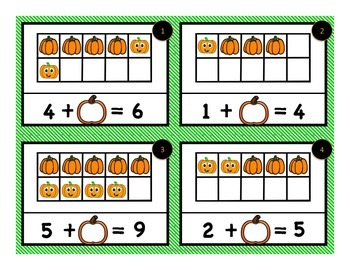 Pumpkin 10 Frames: Counting, Addition, Missing Addend