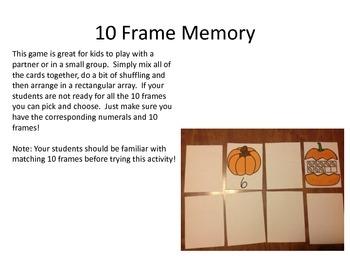 Pumpkin 10 Frames and Activity Set