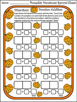 Pumpkin Activities: Pumpkin Dominoes Halloween Math Activity Bundle - Color & BW