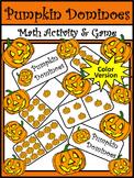 Halloween Math Activities: Pumpkin Dominoes Halloween Game Activity - Color