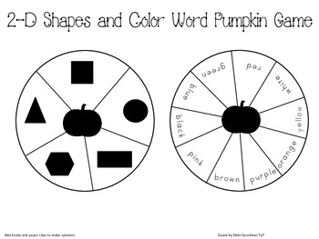 Pumpkin 2-d Shape and Color Word Game