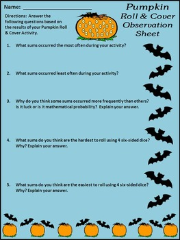 Pumpkin Activities: Pumpkin Roll & Cover Halloween Math Activity Bundle