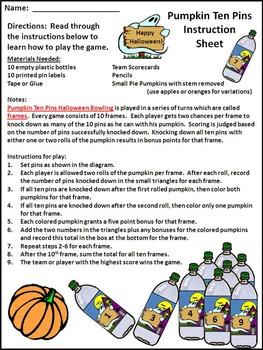 Pumpkin Activities: Pumpkin Ten Pins Halloween Bowling Math Game Activity Bundle