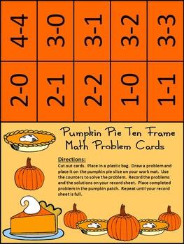 Thanksgiving Activities: Pumpkin Pie Thanksgiving Ten Frames Math Activity