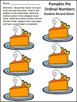 Fall Activities: Pumpkin Pie Ordinal Numbers Fall Math Activity Packet