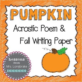 Pumpkin Acrostic Poem & Fall Writing Paper Freebie