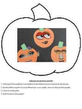Pumpkin Acrostic Poem and Craft