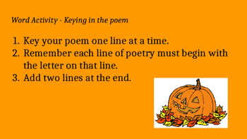 Pumpkin Acrostic poem assignment Powerpoint