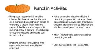 Pumpkin Activities 4 Upper Elementary Kids