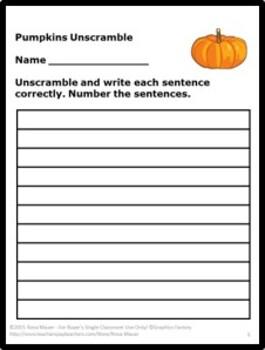 Pumpkin Activities Fall Language Arts