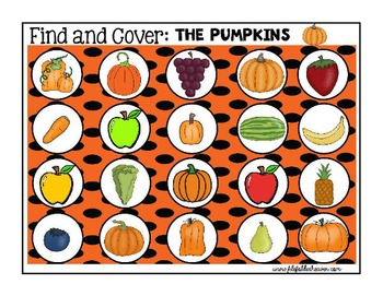 """Pumpkin Activities--""""Find and Cover"""""""