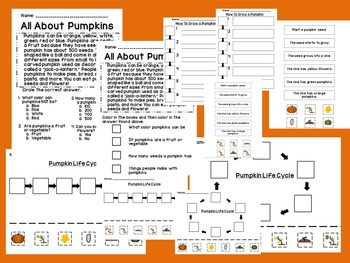 Pumpkin Activities Including Life Cycle, Sequencing, and How to Grow a Pumpkin