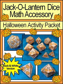 Pumpkin Activities: Jack-O-Lantern Dice Templates Halloween Math Center Activity